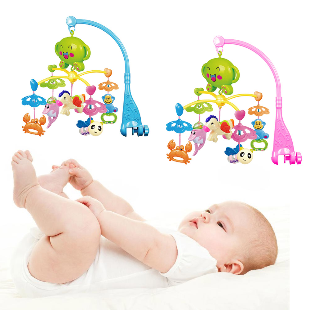 Baby 360 Degree Rotatable Huanger Musical Mobile Bed Crib Bell Hanging Dolphin Crab Horse Bee Monkey Bracket Holder Rattle Toys baby crib musical mobile bell music box with holder arm daytime and evening mode baby bed hanging rattle toys newborn gift