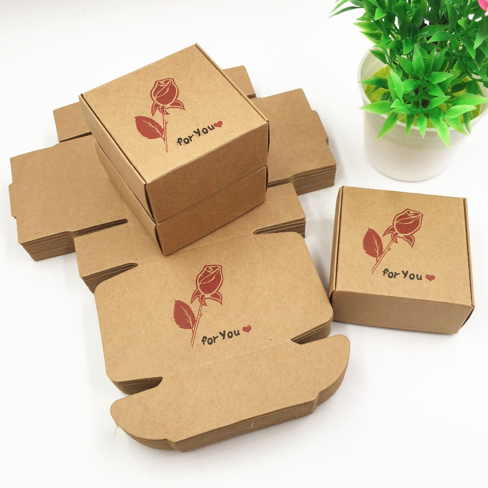 New 50pcs/Lot 6.5*6.5*3cm Cardboard Kraft Paper Boxes Simple Gifts ...