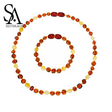 SA SILVERAGE Necklace Pendant Jewelry Women Popular Natural Amber Necklace Classic Natural Amber Necklace Authenticity Genuine