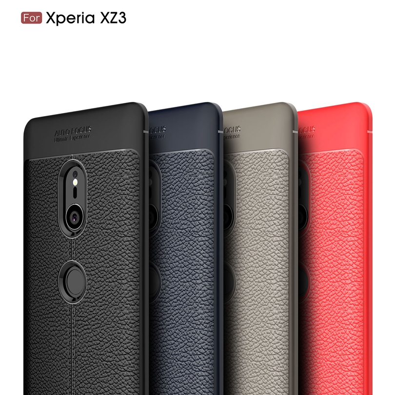 For Sony Xperia XZ3 Case Luxury Soft Silicon Litchi Striae Leather Case Coque Shock Proof Back Cover For Sony Xperia XZ3 Case