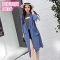 2016 Otoño Nueva Moda Mujeres Trench Coat Manga Delgada Prevenga toman el sol En la Ropa de Algodón Y Lino Coats 903