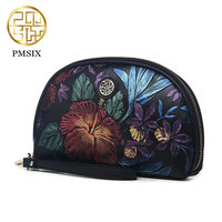 Pmsix 2017 New Retro Fashion Embossed Clutch Purse Mobile Phone Female Head Layer Of Leather Hand