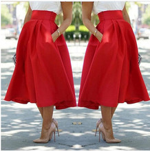 Saias Femininas Fashion Street Style Women's Solid Red Casual Flare High Waist Pleated Vintage Midi Skirts With Pocket