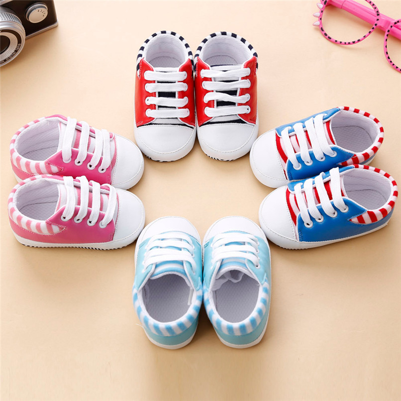 4 Color Baby Girls Shoes Newborn Infant Baby Girls Crib Bandage Shoes Soft Sole Anti-slip Sneakers First Walker M8Y02