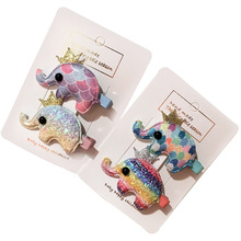 2Pcs Baby Crown Elephant Hair Clip Children Twinkling Accessories Shiny Fish Scale Cloth Gradient Rainbow Girls Hairpins