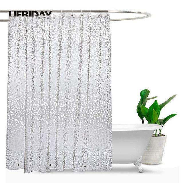 UFRIDAY cortina de ducha impermeable 3D, cortina de baño de plástico PEVA, cortinas transparentes de ducha, cortina de baño gruesa con imanes