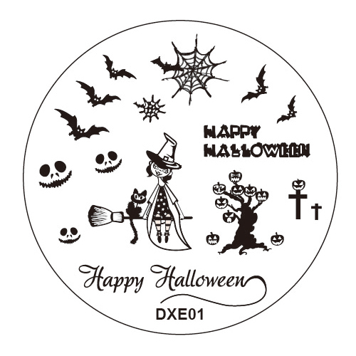 Halloween 1pcs Nail Art Round Stainless Stamping Plate Stamp Steel Plates DIY Polish Templates Nails Kit Tool no Stamper Scraper