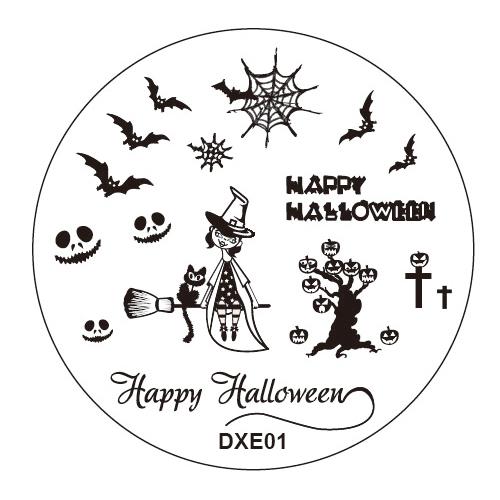 Halloween 1pcs Nail Art Round Stainless Stamping Plate Stamp Steel Plates DIY Polish Templates Nails Kit Tool no Stamper Scraper