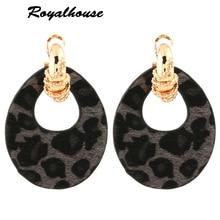 Royalhouse Snake Earring Tiger Leather Large Water Drop Big Charm Earrings Woman Zinc alloy Brinco Ear Oorbellen Christmas Gift цена в Москве и Питере