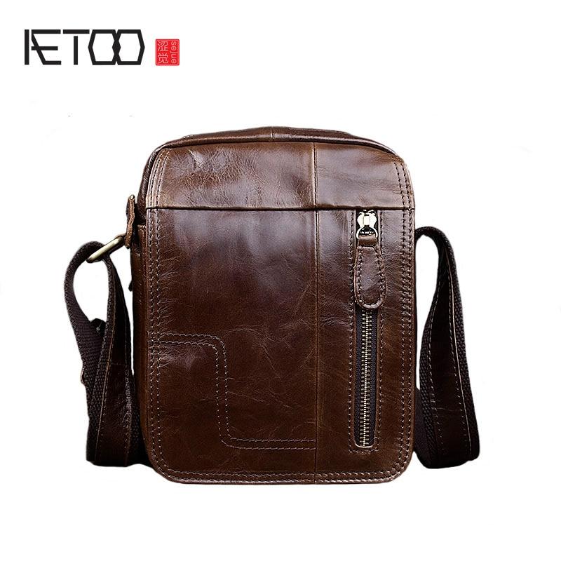 AETOO New leather men shoulder bag vertical section leisure Messenger bag retro leather men bag simple package
