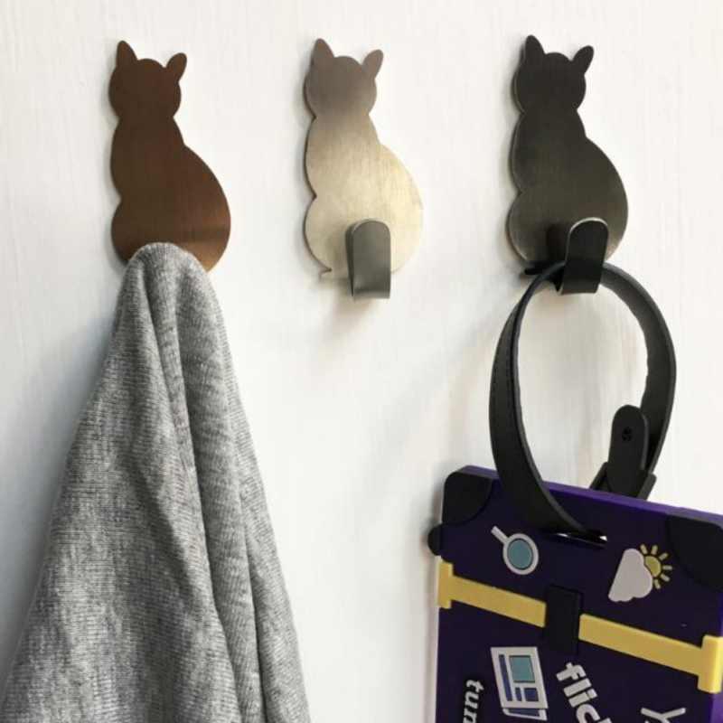 ติดผนังเหล็กสแตนเลสรูปร่างแมว Hooks Coat Robe แขวนแขวนประตูบ้านแขวนเสื้อผ้า Cat key ตกแต่ง
