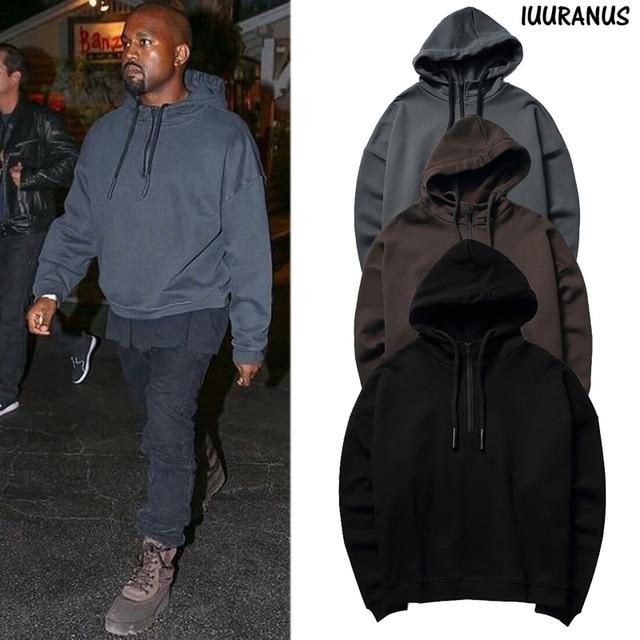 2ba775343 US $42.8 |IUURANUS Hoodies Men Women High Street Half Zip Kanye Season 1  Sweatshirt Brown Black Cotton Pullover Kanye West Season 1 Hoodie-in  Hoodies ...