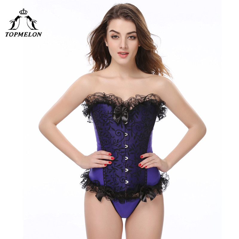 TOPMELON Bustier Corset Sexy Women Gothic Corselet Steampunk Corsets and Bustiers Lace Up Floral Lace Party Club Corset Tops