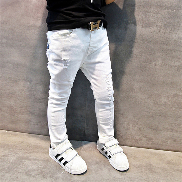 c0a226690 Children's clothing male child jeans 2018 spring and autumn boys casual trousers  baby white skinny brand pants fashion