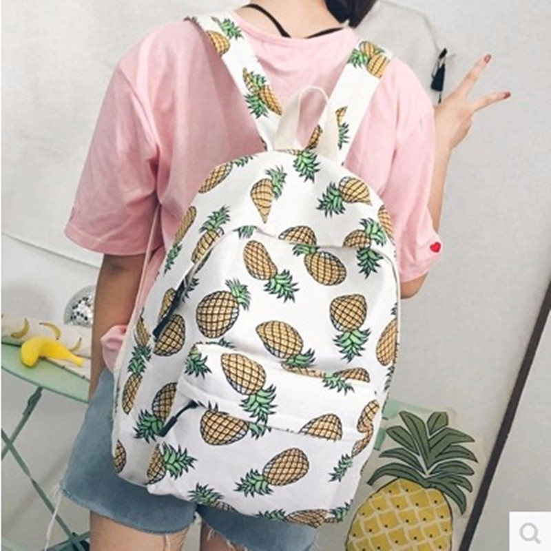 2018 Multi-function Exquisite Fruits Backpack Large capacity fashion canvas school bags casual travel backpack for girl student