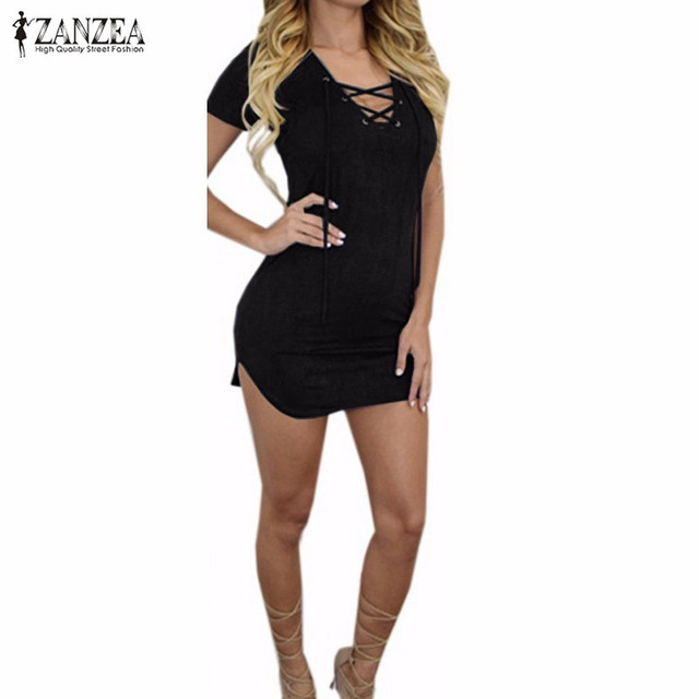 abd629a018 ZANZEA 2016 Summer Women Mini Dress Sexy Short Sleeve Lace-up V Neck  Bodycon Dresses Plus Size Vestidos High Quality