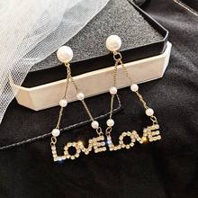 Korean Rhinestone LOVE letter Long Earrings For Women 2019 New Fashion Jewelry