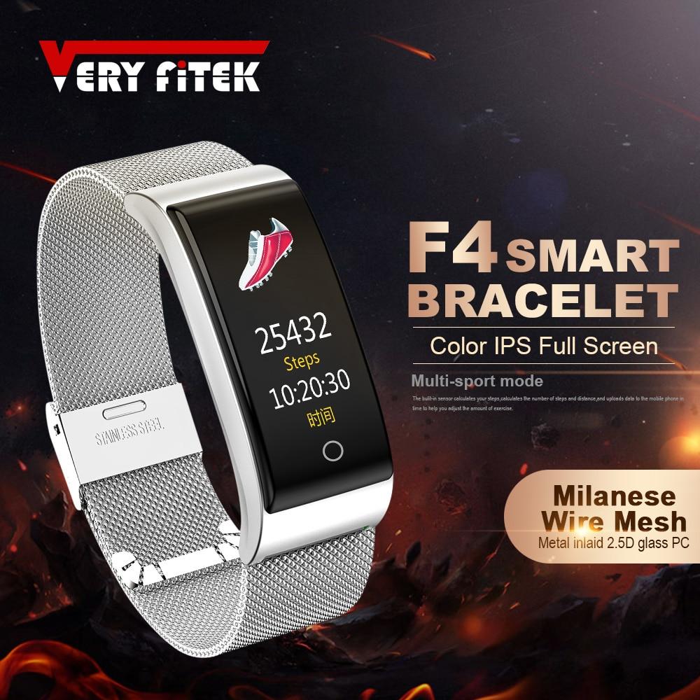 VERYFiTEK F4 Metall Armband Smart Armband Blutdruck Herz Rate Monitor Mode Sport Fitness Uhr Pedometer Smart-Band