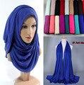 21 color Caliente del envío libre Adulto Algodón Hijab Musulmán Del Nuevo Jersey Turbante Baotou Bufanda Al Por Mayor Monocromo Ampliación de Alta grado
