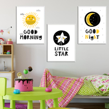 Nordic Cartoon Sun Moon Stars Good Morning Goodnight Children's Room Canvas Painting Print Poster Picture Wall Home Decoration goodnight moon