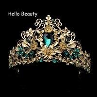 Design Europeu Barroco do vintage Acessórios Para o Cabelo Rainha Pageant Crown Tiara de Strass Nupcial Do Casamento de Cristal Verde Para As Mulheres