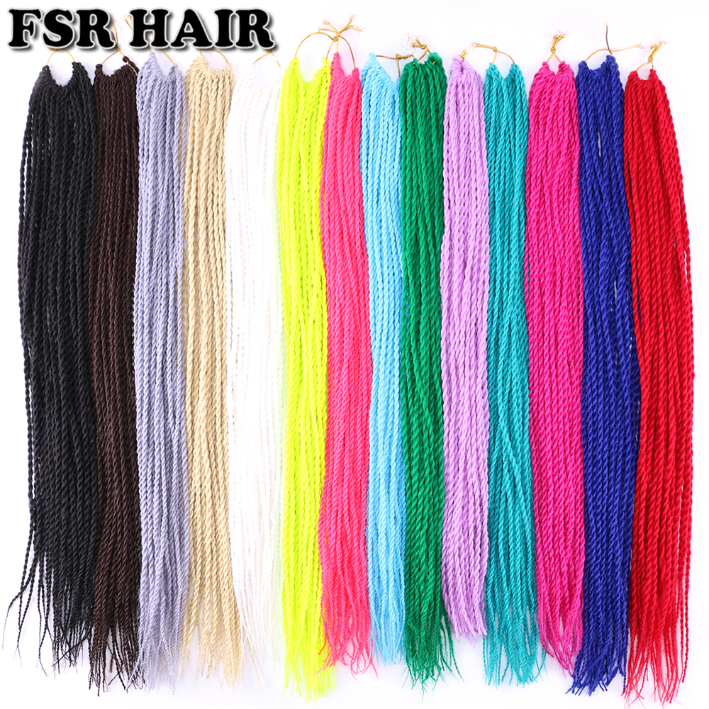 FSR 22 Inch Senegalese Twist Hair Crochet Braids 30 Roots/pack Synthetic Braiding Hair For Women