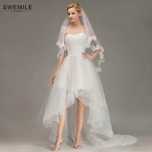 SWEMILE Charming Lace Two Layer Wedding Veil with Comb Soft Tulle Bridal Veil Wedding Accessories Velo de Novia