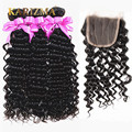 Brazilian Virgin Hair Deep Wave With Closure Deep Curly Brazilian Hair Bundles Ali Moda Brazilian Curly Virgin Hair With Closure