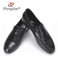 2015 Piergitar New Arrival Leather Loafer Crocodile Emboss Size US 6 14 Free Shipping