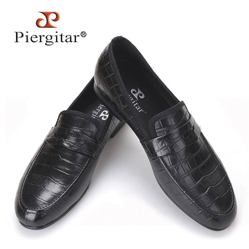Handmade Crocodile embossed Genuine Leather Men's shoes party and wedding Men Loafers male's Causal Flats Size US 4-17 2017 new arrival comfortable genuine leather bottom and insole men loafers colourful banquet men handmade shoes party male flats