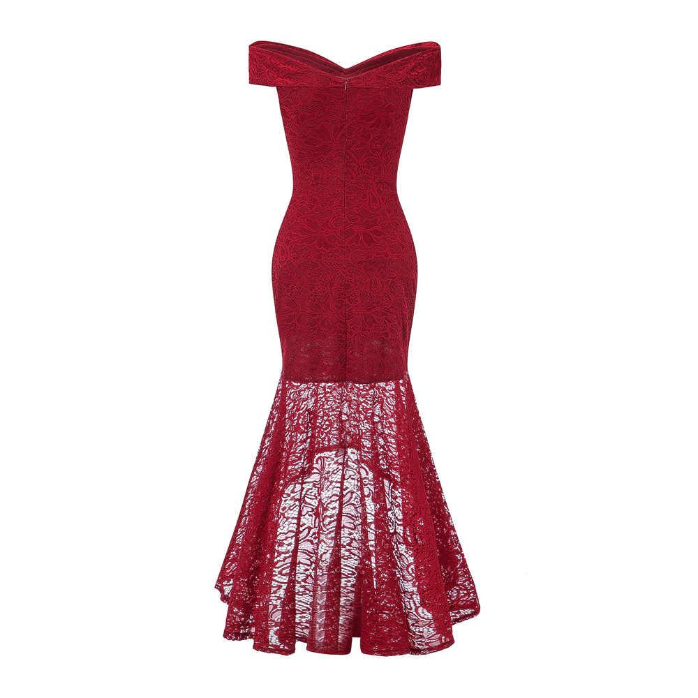OML9J # Fischschwanz wein rote spitze abendkleider lang Blau rosa  Weihnachten party kleid abendkleid frauen mode großhandel kleidung