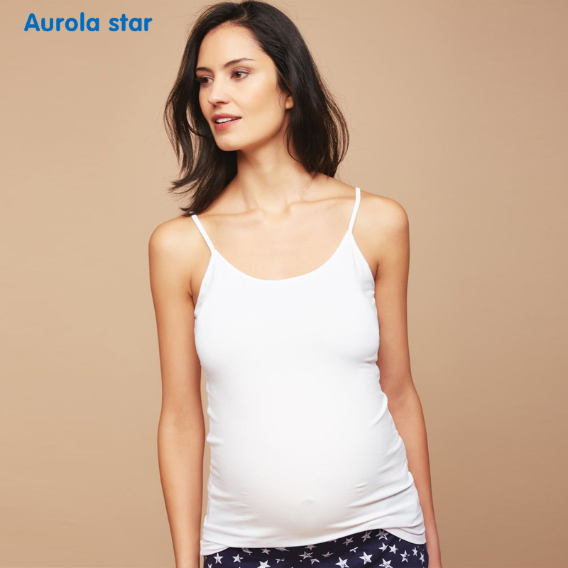 Maternity High Elastic Tanks Tops For Pregnant Women Pregnancy Clothes Camis Solid Casual Clothes Summer Sling Vest AUROLA STAR
