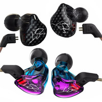 Original KZ ZST Balanced Armature Dynamic Hybrid Dual Driver Earphones Purple BlaHIFI Earbuds Bass In Ear