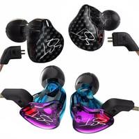 Original KZ ZST Balanced Armature Dynamic Hybrid Dual Driver Earphones Purple BlaHIFI Earbuds Bass In Ear