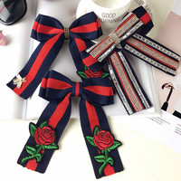 Vintage New Woman Brooches Big Ribbon Striped Bowknot Long Tassel Embroidery Rose Bow Tie Collar Accessories