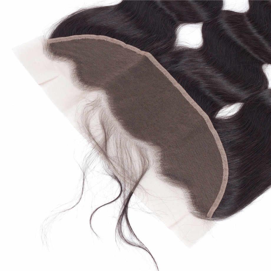 Cabello ondulado peruano cabello humano 13*4 cierre Frontal de encaje medio/libre/tres Partes 100% Cierre de cabello Remy Color Natural