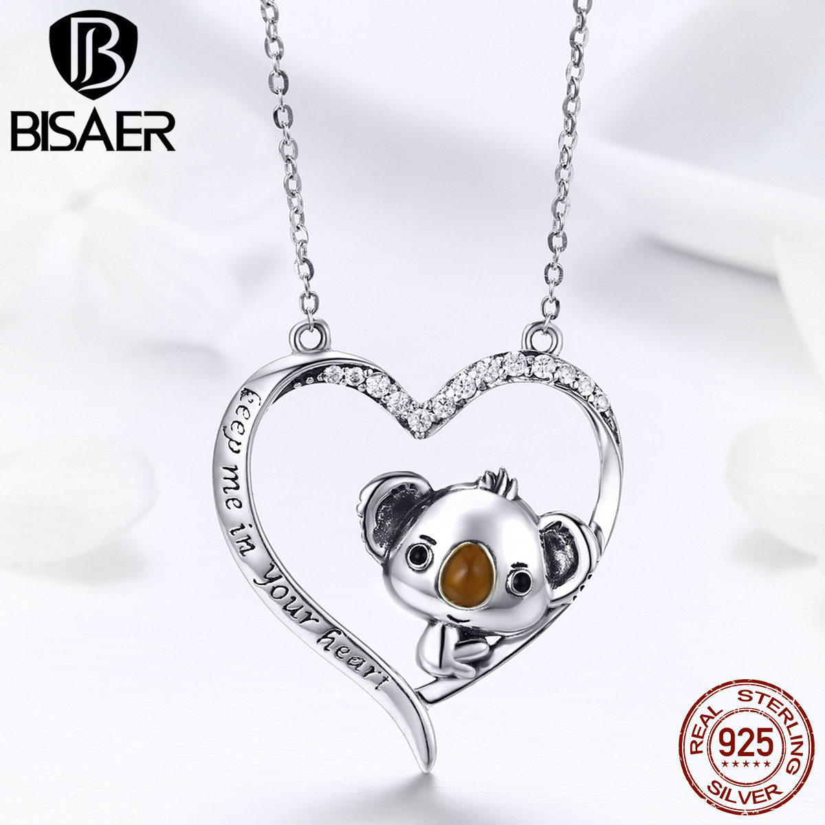Authentic 925 Sterling Silver Little <font><b>Bear</b></font> <font><b>Koala</b></font> in Heart Shape Girls Pendant Necklaces Women Collar 925 Silver <font><b>Jewelry</b></font> ECN256 image