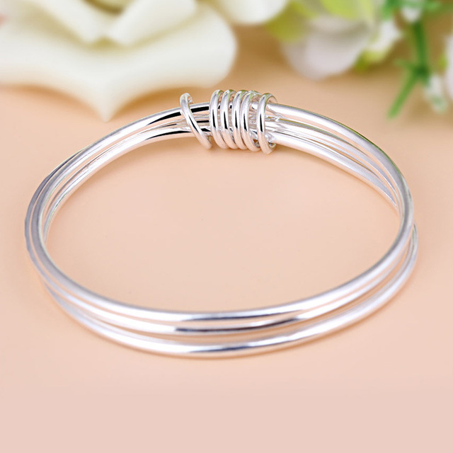 YJ-B-S440 New Fashion 990 Sterling Silver Bracelet Lady Retro Glossy Three-ring Full Silver Jewelry Women Simple Bangles