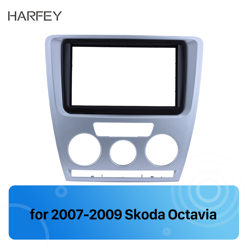 Harfey <font><b>2</b></font> Din Car Stereo Fascia <font><b>Frame</b></font> Trim for Skoda <font><b>Octavia</b></font> 2007 2008 2009 Surrounded Panel Plate Installation kit Cover Trim image