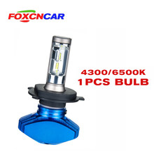 FOXCNCAR 1pcs H7 H4 LED H4 H7 6500K Car headlight bulb Fanless CSP 8000LM 80W 12V H1 H3 H4 H7 H8 9005 HB3 9006 HB4 Hi Lo Beam(China)