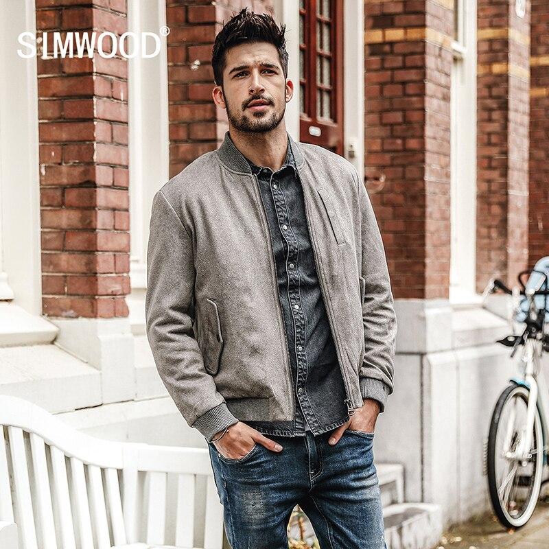 SIMWOOD 2019 الخريف الشتاء الرجال معطف العلامة التجارية فو سترة بجلد مزأبر زائد حجم عالية الجودة منفذها البيسبول قميص جاكيتات JK-في جواكت من ملابس الرجال على  مجموعة 1