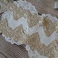 Золотая кружевная ткань, ширина 7,5 см, 2 ярдов/партия, галстук-бабочка, вышивка, отделка для одежды и свадебного декора 172203