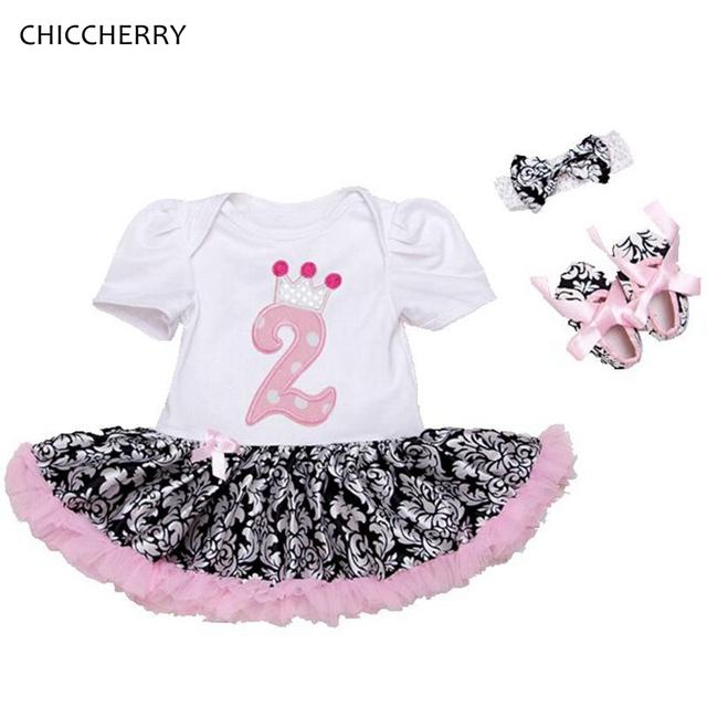 Lindo 2 Años de Cumpleaños Vestido de Princesa Tutú Del Cordón Del Bebé Conjunto Diadema arco y Zapatos de Fiesta Trajes de Ropa Infantil Roupa de Bebe