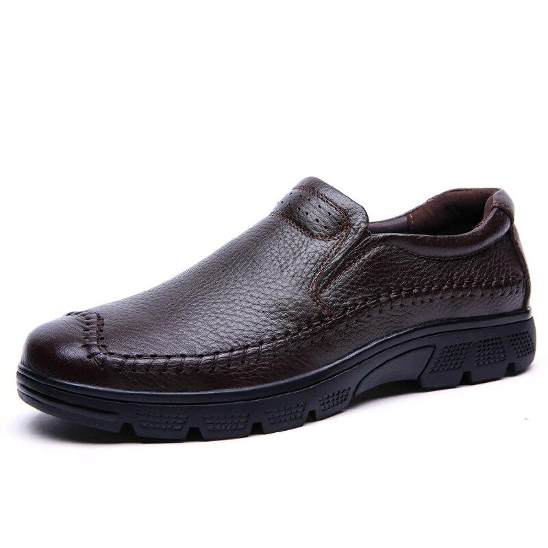 À Zapatos Feitos Preguiçosos Sapatos Em Size Couro Mocassins Deslizamento De brown Natural Condução Hombre Dos Sapatas Casuais Preto Mão Homens Plus TxwnSBWq48