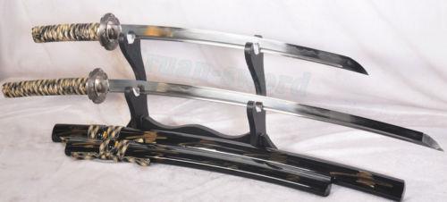 Clay Tempered Folded Steel Japanese Samurai Katana Sword Set(Katana+Wakizashi)
