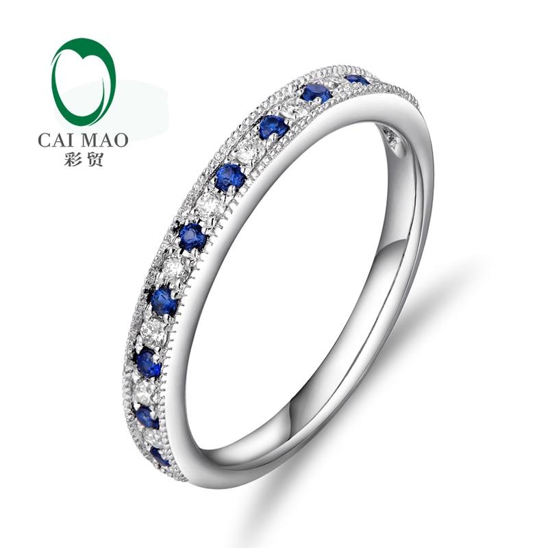 Caimao šperky 14 K White Gold 0.13ct Sapphire & 0.09ct Diamonds Engagement Wedding Band Doprava zdarma