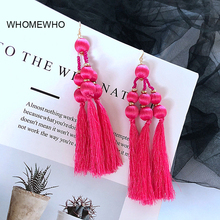 Gold Metal Handmade Red Thread Braided Tassel Seed Beads Drop Earrings Bohemia Fashion Bridal Wedding Jewelry Party Accessories