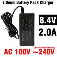 Kingwei 1.2 m 8.4 v, 2a eu anh mỹ cắm 18650 lithium sạc pin battery pack charger với có dây cung cấp điện thoại di động đèn pha