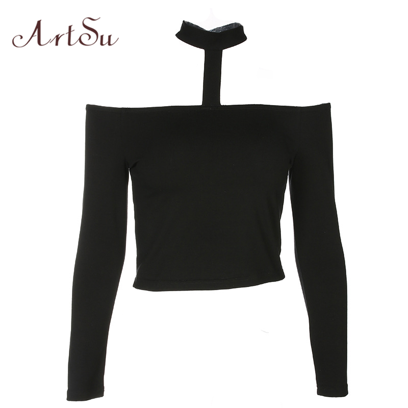 ArtSu Sexy Off the Shoulder Tops for Women Long Sleeve Slim Halter T-shirt Black Tee Shirt Femme Cropped Punk Tshirt ASTS20285