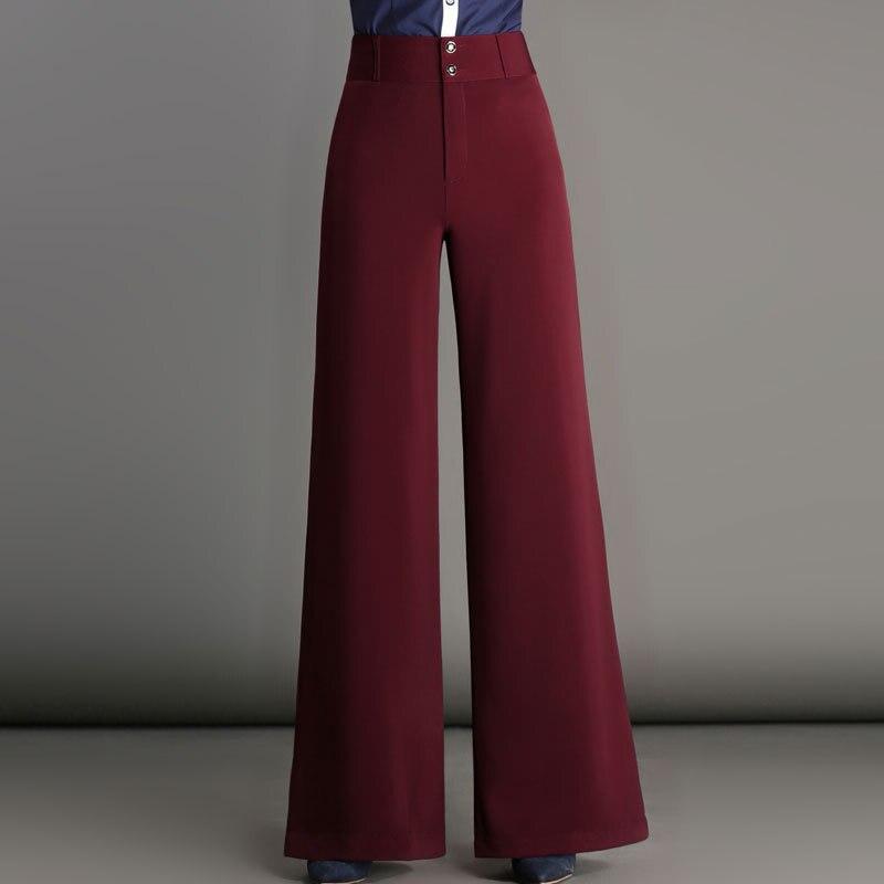 Women   pants   Slim spring Autumn   pants   Solid color Button   Wide     leg     pants   High waist casual   pants   SME301